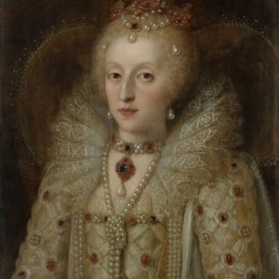Portrait of Elizabeth I, Queen of England, by Anonymous, c. 1550-99, European painting, oil on panel. The Queen wears a dress with a lace collar and ornamented with precious stones. She has a heavily