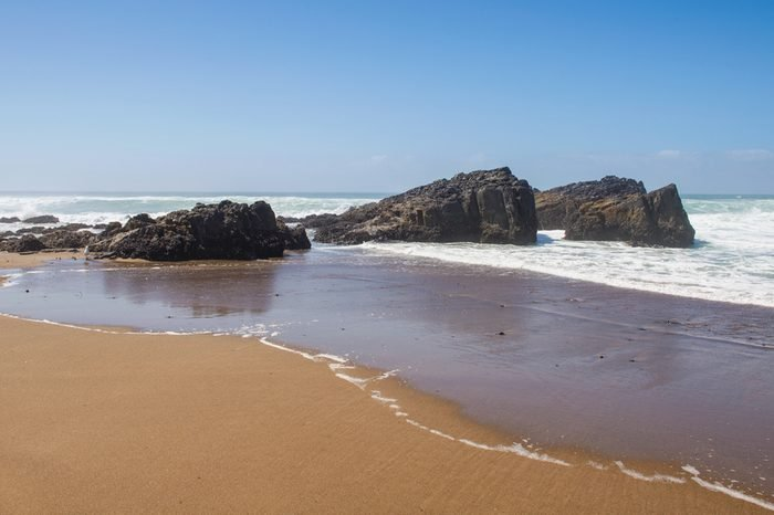 Rock formations on the beach at Lincoln City, Oregon.