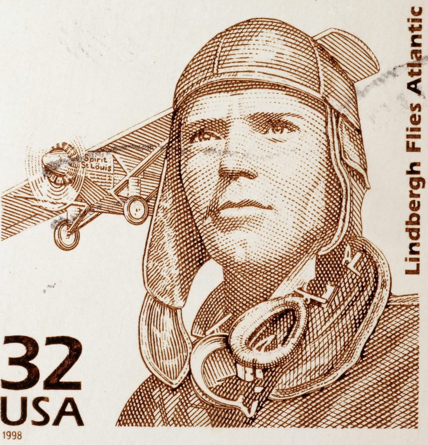 Milan, Italy - January 30, 2017: Charles Lindbergh on american postage stamp