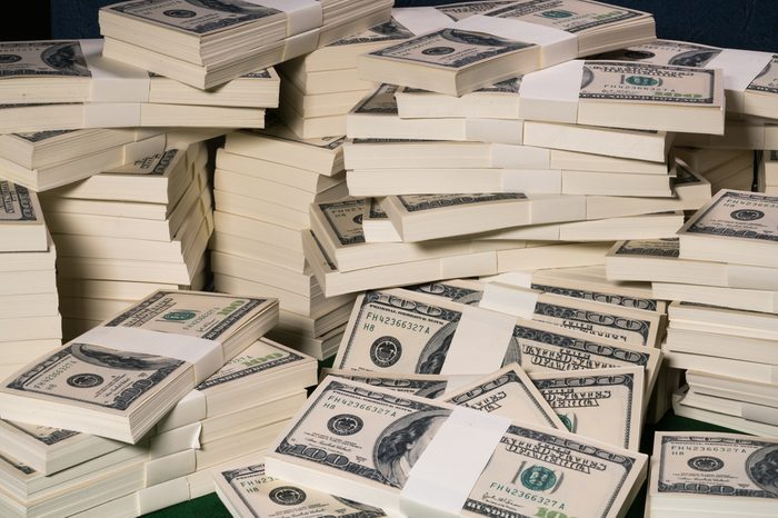 Stacks of one million US dollars in hundred dollar banknotes.