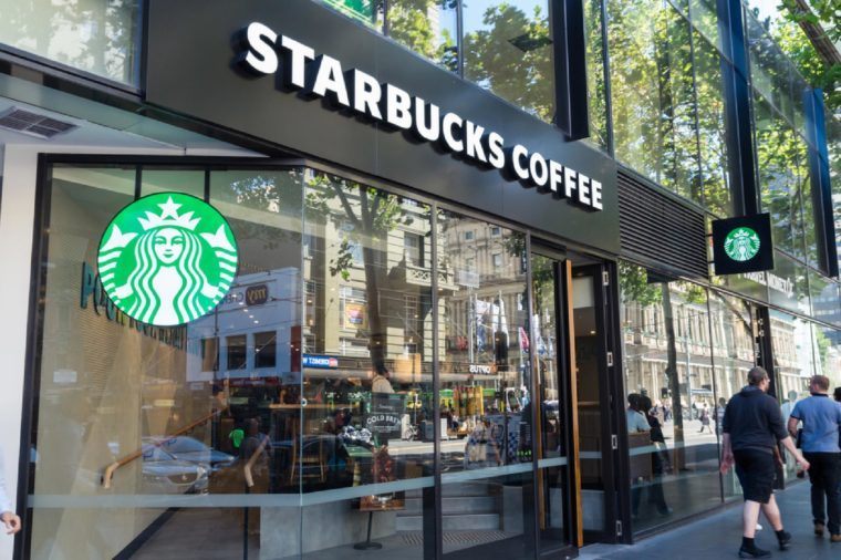 Melbourne, Australia - February 23, 2017: Starbucks Coffee is an American chain of coffee shops, founded in Seattle. The 385 Bourke Street store is inside the Galleria shopping mall.