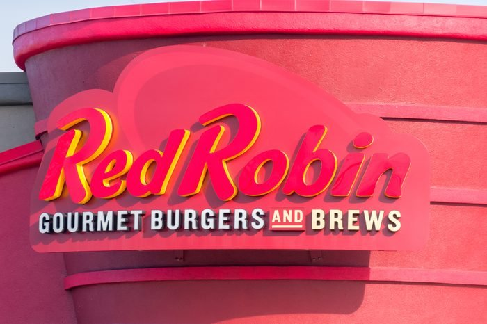 Red Robin restaurant exterior and logo. Red Robin is an American chain of casual dining restaurants.