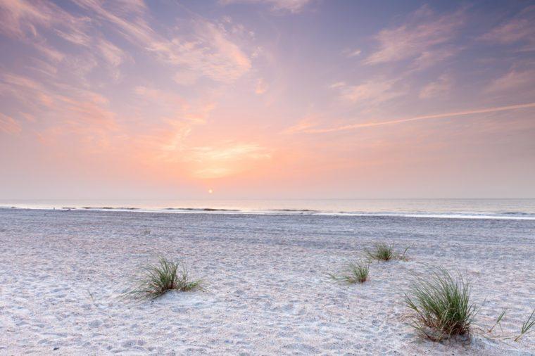sunrise over atlantic ocean in south florida. Fernandina beach, Florida, USA