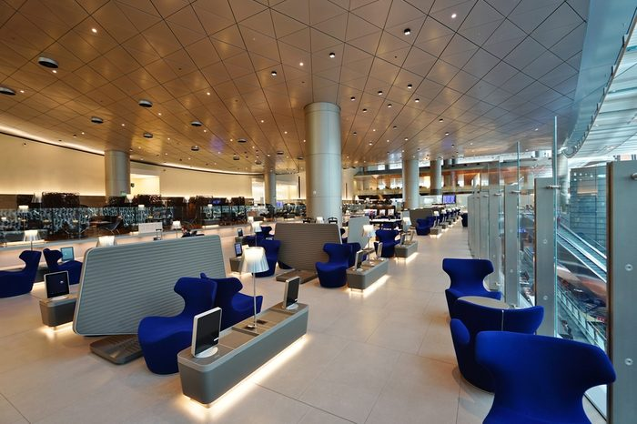 DOHA, QATAR -21 DEC 2016- View of A First class business lounge at the Hamad International Airport (DOH) in Doha. It is the hub for national carrier Qatar Airways (QR).