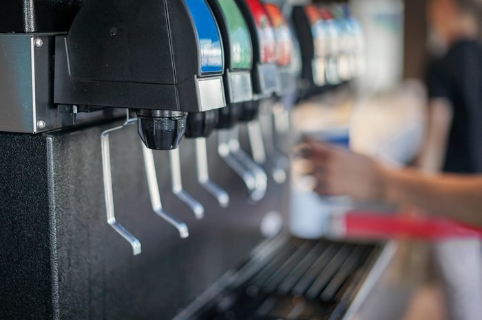 Water Soft drinks carbonated vending machine in restaurant shop soft focus