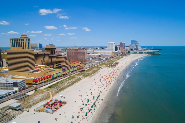ATLANTIC CITY, NJ, USA - JUNE 29, 2017: Aerial drone photo of Atlantic City beach boardwalk and casinos