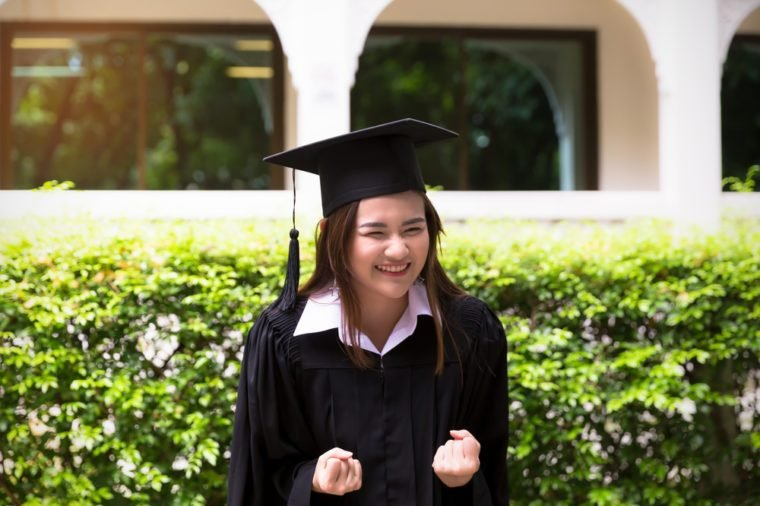 Happy face of Asian women in graduation student in the outdoor
