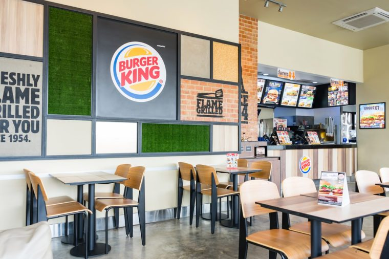 BANGKOK, THAILAND - SEPTEMBER 10, 2017: inside of Burger King restaurant. Burger King, often abbreviated as BK, is an American global chain of hamburger fast food restaurants.