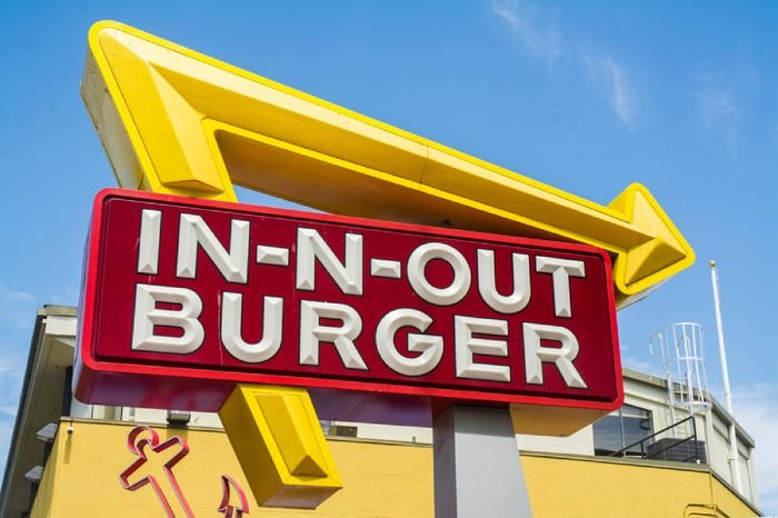 Large In-N-Out Burger billboard. In-N-Out is a fast food burger chain with business in Southwest USA.