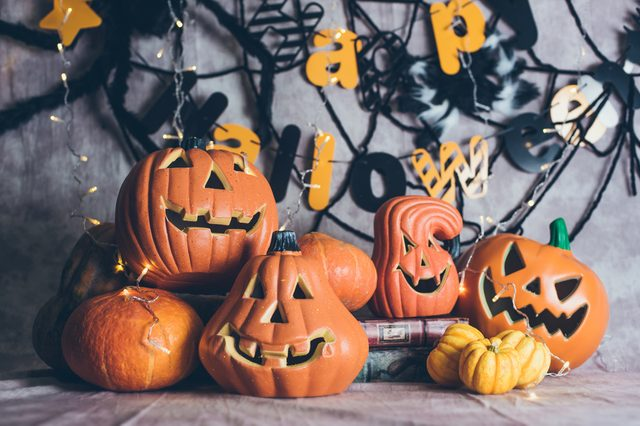 the pumpkins for the Halloween