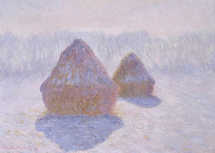 Haystacks , by Claude Monet, 1891, French impressionist oil painting. Between 1890 and 1891 Monet created over 2 dozen paintings of the haystacks near his house at Giverny