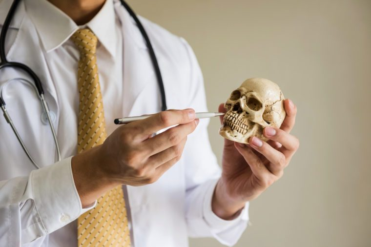 Doctor demonstrate biology by using pen to point at skull teeth. Funny dentist physician use skeleton model to share information with patient. Science and Health care concept with copy space for text.
