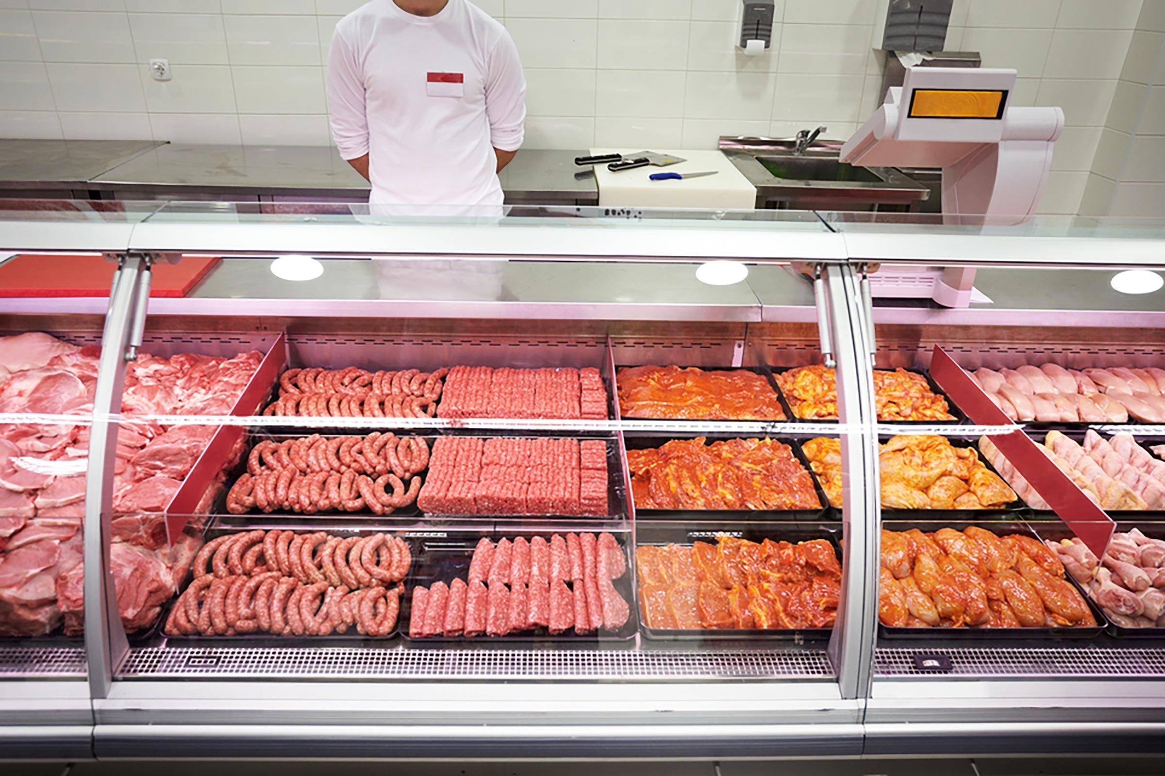 close up of various meat in a supermarket