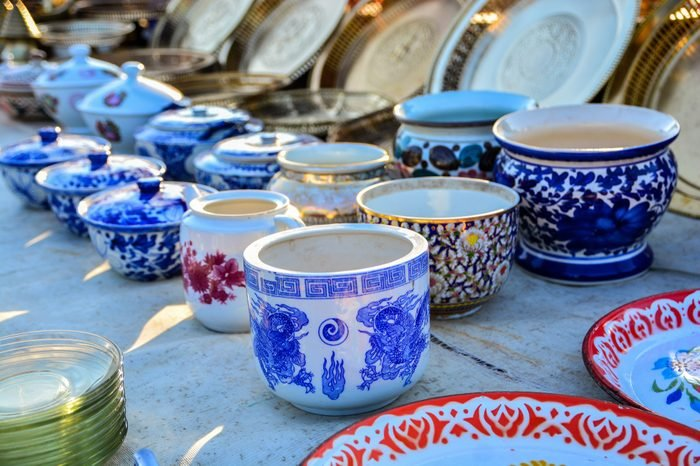 thai porcelain cup for sell in market