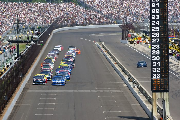 INDIANAPOLIS, IN - JULY 31: The NASCAR Sprint Cup Series teams take to the track for the 18th annual Brickyard 400 race at the Indianapolis Motor Speedway in Indianapolis, IN on Jul 31, 2011.