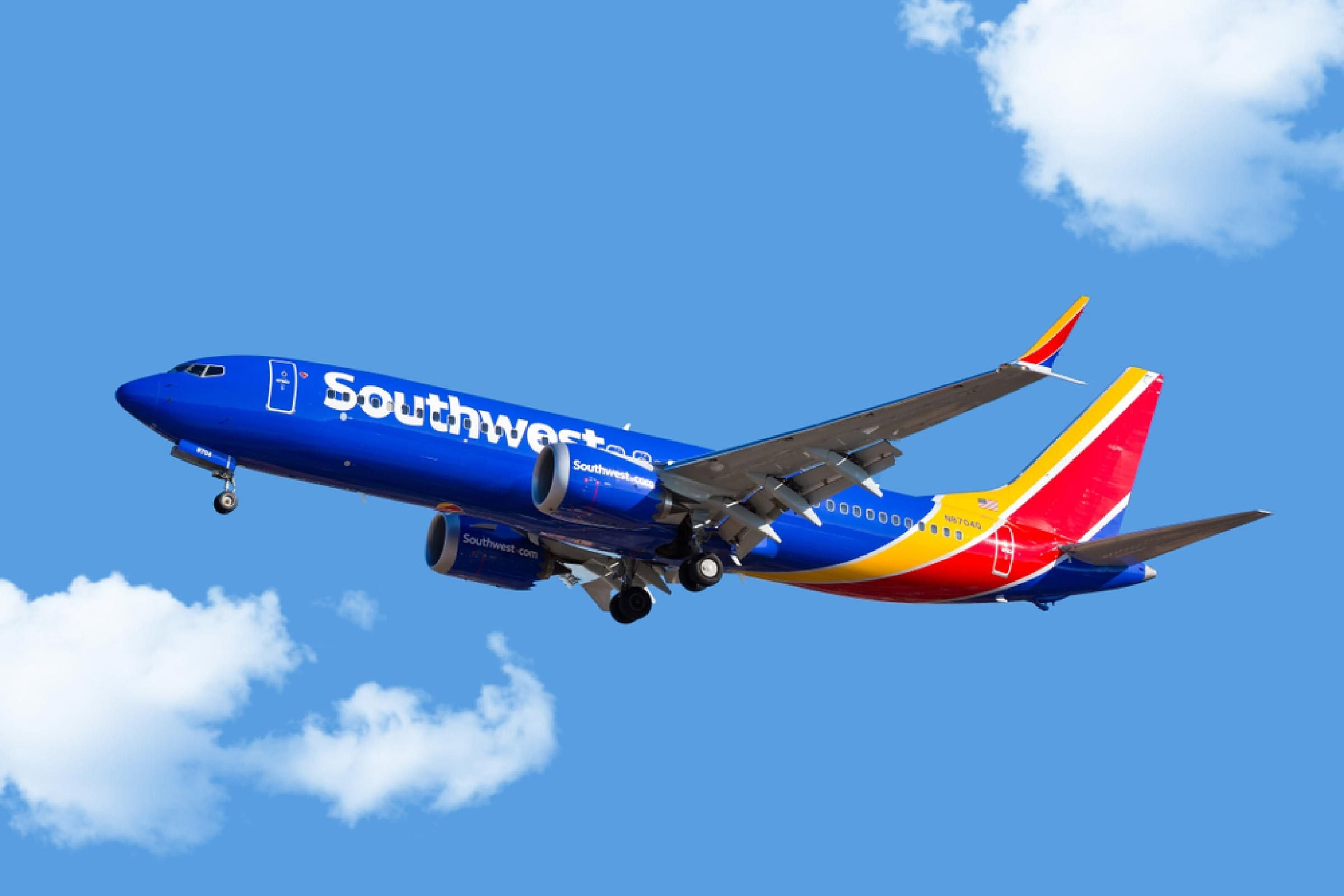 Southwest Airlines 737-800 MAX aircraft on final approach at Midway Airport.