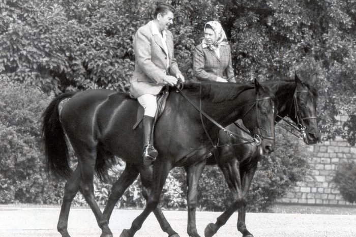 The Queen Elizabeth II And President Ronald Reagan (died June 2004) Go Riding In Windsor's Home Park....1982