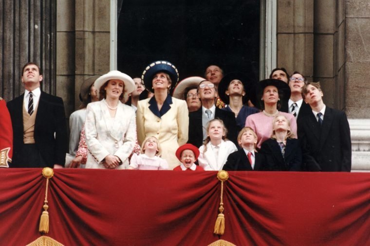 The Royal Family On The Balcony Of Buckingham Palace For Trooping The Colour. The Duchess Of York Standing Next To The Princess Of Wales. Surrounded By The Royal Family One Brave Little Girl Was Given Pride Of Place During The Ceremony. Fopur Year Old Leonora Knatchbull Who Is Being Treated For Cancer Had A Granstand View From The Balocony As Three Shackleton Aircraft Led The Queen's 65th Birthday Flypast. Leonora Yuoungest Daughter Of Lord Romsey Had A Personal Guide Especially For The Occasion-the Princess Of Wales. . Rexmailpix.
