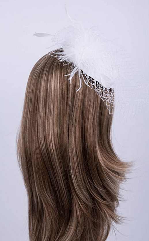 white lace trimmed fascinator