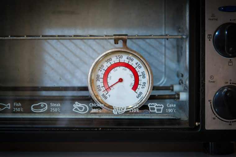 Old oven thermometer in the kitchen at home