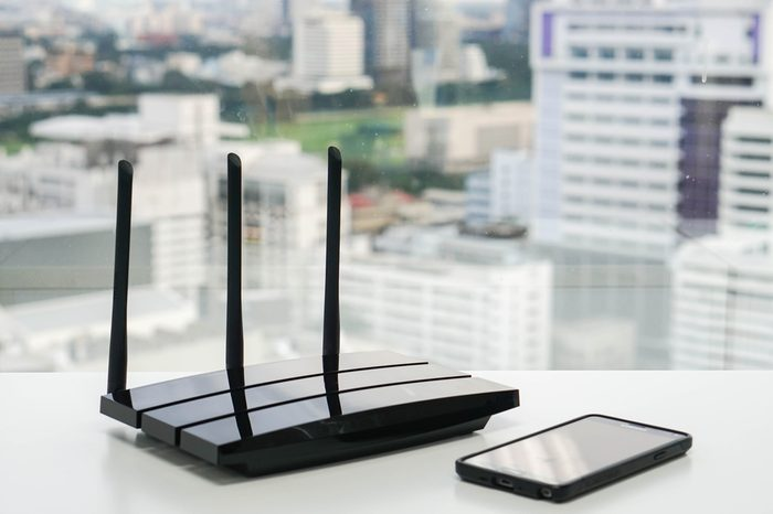 WiFi router with smartphone
