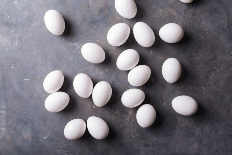White eggs on a gray background