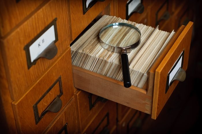 Library Card Catalog Drawer Magnifier Glass Search Concept Stock Photo