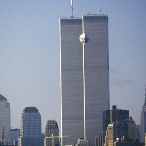 A blimp flying over Manhattan, New York