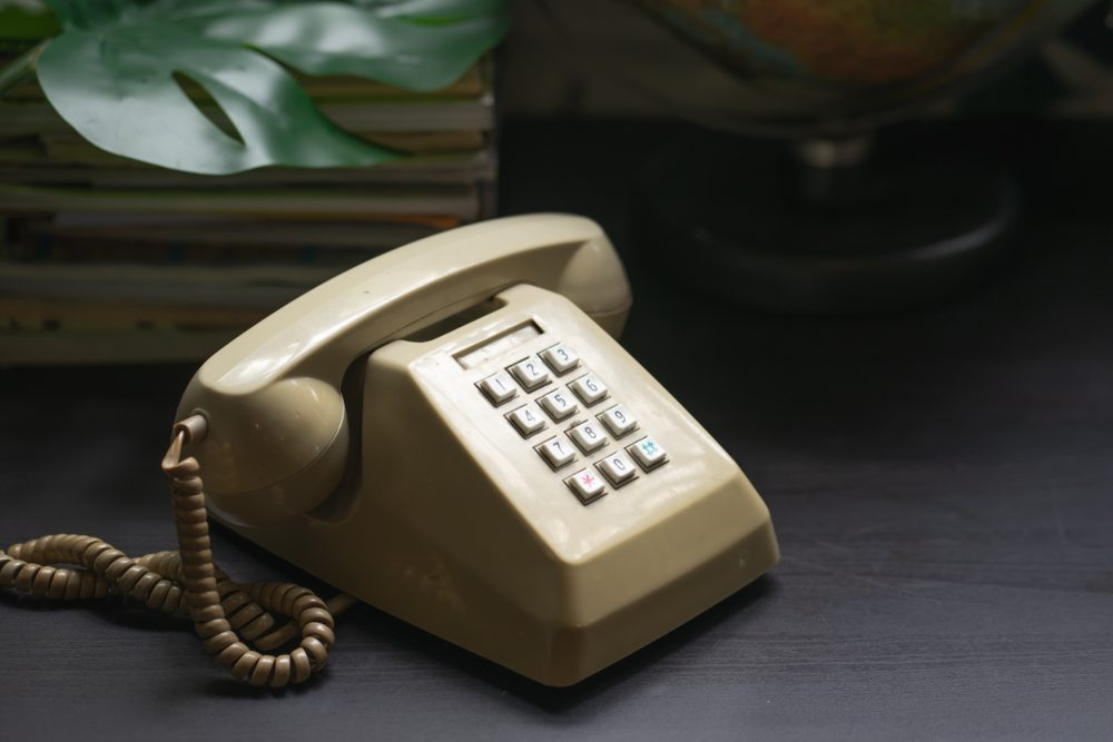 Handset of vintage telephone selective focus .