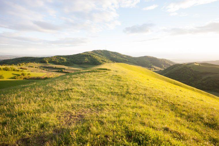 grassy hills on kaiserstuhl mountain near freiburg