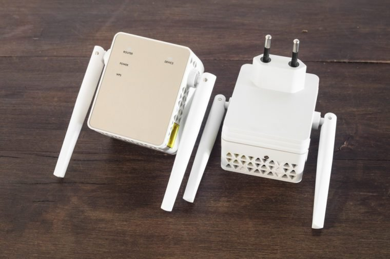 Detail of Wifi range extender.