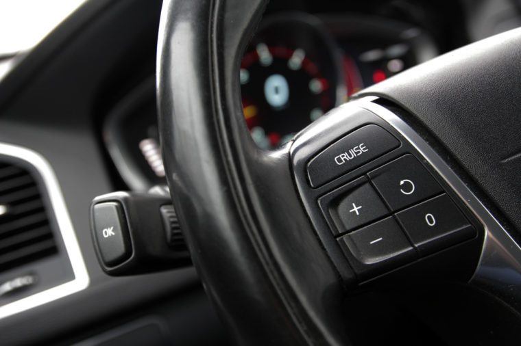 Cruise control button on the steering wheel