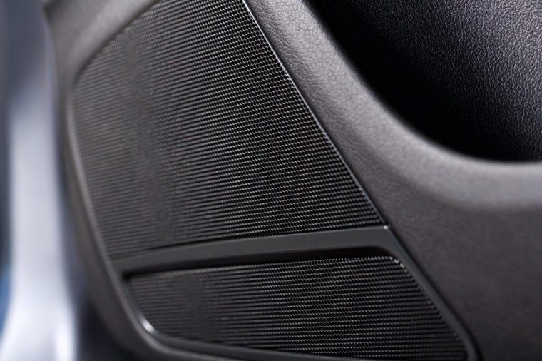 close up shot of a speaker in a car