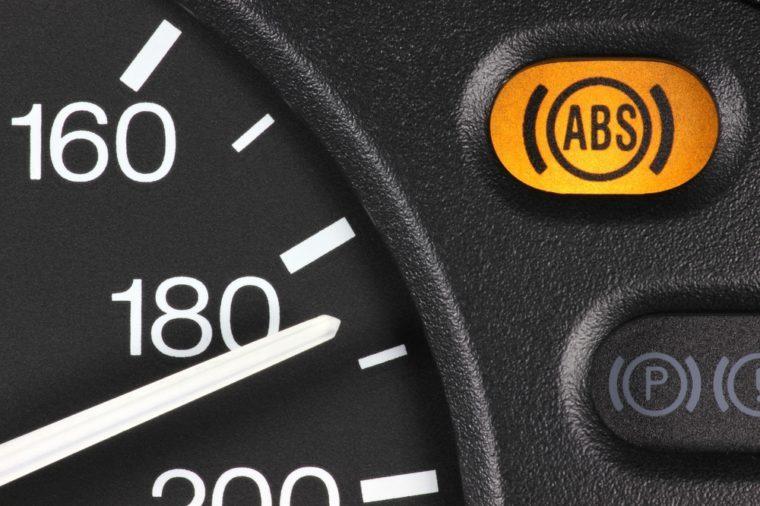 ABS warning light in car dashboard