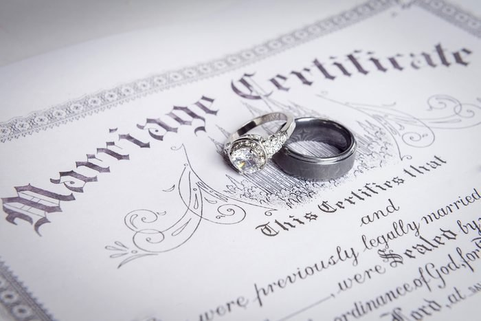 wedding bands on a marriage license
