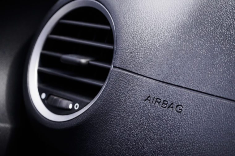 Safety airbag sign in the car