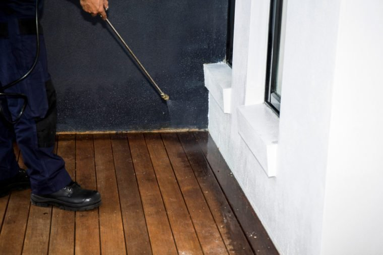 Pest Control Worker Spraying Pesticide outside the house