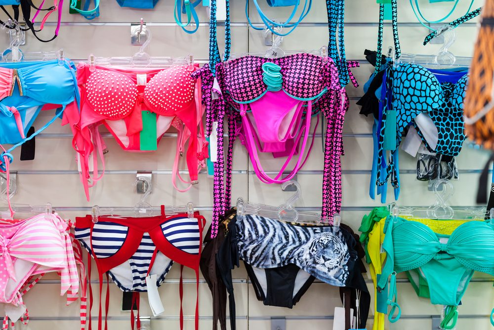 Department of swim suits in clothing store