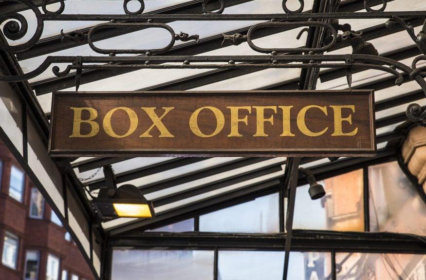 A sign at a box office.