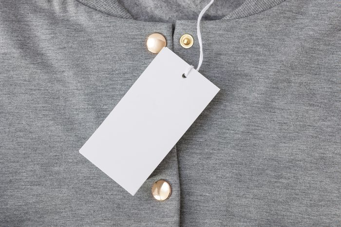 Tag on Gray Bomber with Gold Buttons