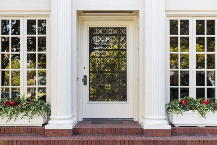 Front door with lots of windows