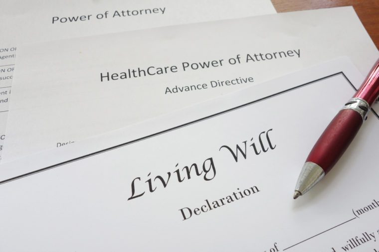 Living Will, HealthCare, and Power of Attorney documents