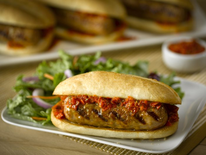 Italian Turkey Sausage with Red Pepper Sauce