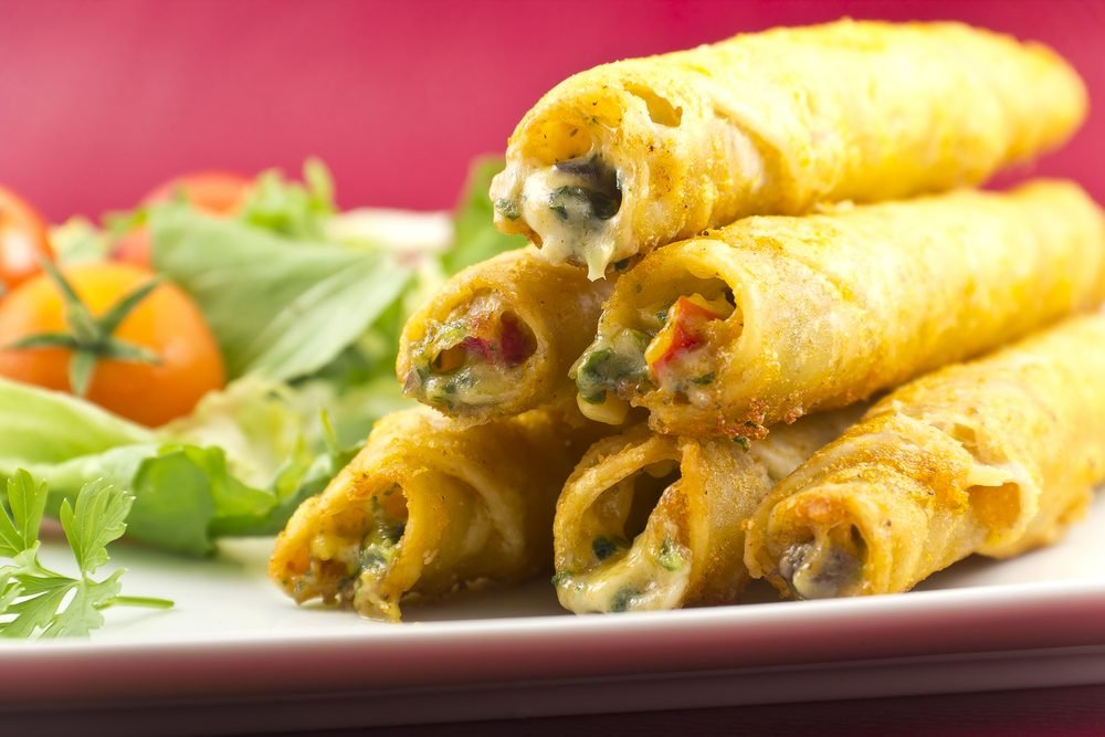 Authentic Mexican Taquitos with a fresh garden salad