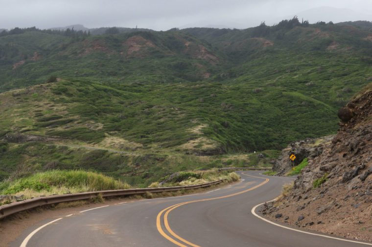 Typical landscape along the Kahekili Highway, North Maui, Hawaii