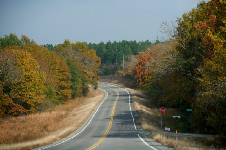 Paved road with colorful trees on both sides in the southern part of Oklahoma in autumn.