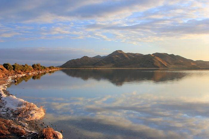 The causeway to Antelope Island, Utah, on the Great Salt Lake.