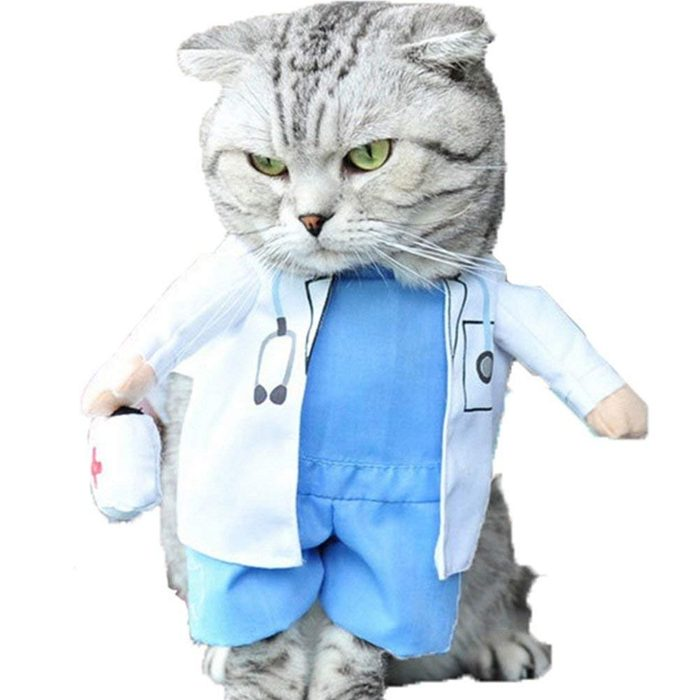 NACOCO Dog Cat Doctor Costume Pet Doctor Clothing Halloween Jeans Outfit Apparel