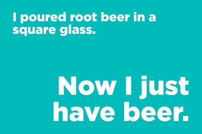 I poured root beer in a square glass.