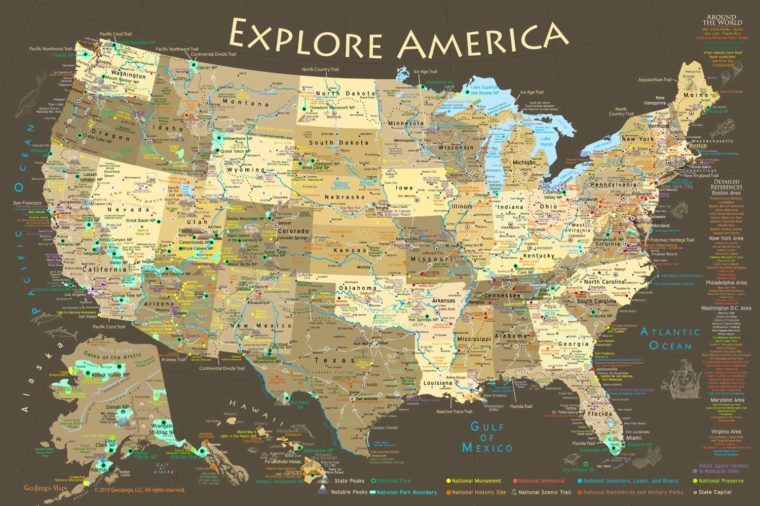 national parks USA map amazon prime gifts